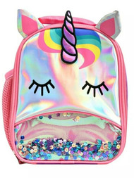 Silver Unicorn Insulated Lunchbox with Glitter & Sequins, Lunch Bag