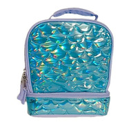 Aqua Blue Mermaid Scale Insulated Dual Compartment Lunch Box, Lunch Bag
