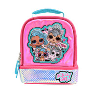 Lol Surprise Dual Compartment Insulated Lunchbox Glitter On Pink Lunch Bag
