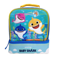 Baby Shark Dual Compartment Drop Bottom Lunch Box, Kids Lunch Bag
