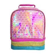 Dual Compartment Insulated Lunchbox with Pink Iridescent Hearts, Lunch Bag