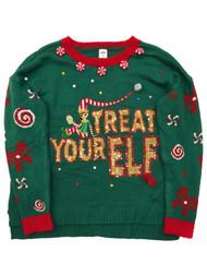 Womens Green & Gold Sequin & Rhinestone Elf Christmas Holiday Sweater