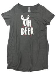 Womens Gray Oh Deer Christmas Reindeer Sleepshirt Sleep Shirt Nightgown