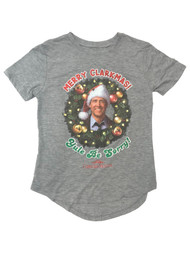 Christmas Vacation Junior Womens Gray Clark Griswold Holiday Tee T-Shirt