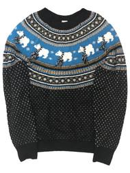 Womens Soft Black & Blue Sparkle Polar Bear Christmas Holiday Sweater