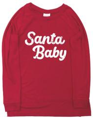 Isabel Maternity Womens Red Santa Baby Christmas Holiday Sweatshirt Tee