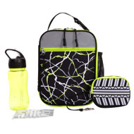 CRCKT 4 Piece Black & Lime Geo, Lunch Box Set, Insulated Lunch Bag Lunchbox