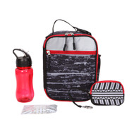 CRCKT 4 Piece Black & Red Geo, Lunch Box Set, Insulated Lunch Bag Lunchbox