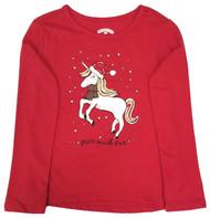 Girls Christmas Unicorn Snow Much Fun Long-Sleeved Tee Shirt T-Shirt