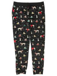 Womens Soft Black Sweatered Puppy Dog Joggers Sleep Pants Pajama Bottoms