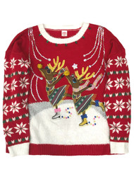 Womens Embellished Red Glitter Sequin Reindeer Christmas Holiday Sweater