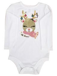 Infant Girls White Christmas Oh Deer Reindeer Holiday Baby Bodysuit Creeper