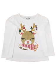 Toddler Girls White Christmas Oh Deer Reindeer Holiday Tee Shirt T-Shirt