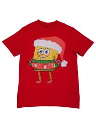 Spongebob Squarepants Mens Red Christmas Holiday Graphic Tee T-Shirt