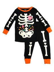 Carters Toddler Girls Black Skeleton With Candy Cotton Halloween Pajamas 12m