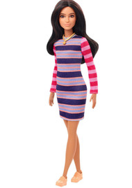Barbie Fashionistas Doll with Long Brunette Hair Wearing Striped Dress #147