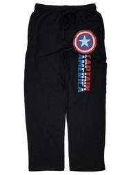 Captain America Mens Black Lounge Pant Sleep Pants Pajama Bottoms