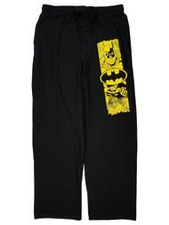 Batman Mens Black & Yellow Lounge Pant Sleep Pants Pajama Bottoms