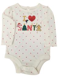 Infant Girls Cream Colored I Love Santa Christmas Holiday Bodysuit Creeper