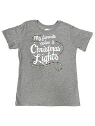 Womens Gray My Favorite Color Christmas Lights Holiday T-Shirt Tee Shirt