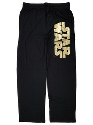 Star Wars Mens Black & Gold Lounge Pant Sleep Pants Pajama Bottoms