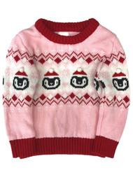 Infant & Toddler Girls Pink & Red Santa Penguin Christmas Baby Sweater