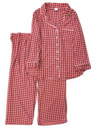 Womens Minky Soft Salmon Pink Red Dot Medallion Pajamas Sleep Set