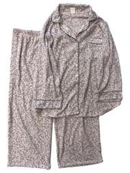 Womens Minky Soft Pink & Gray Leopard Print Button Front Pajamas Sleep Set 2X