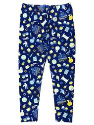 Junior Womens Blue Stretch Fit Hanukkah Holiday Leggings Stretch Pants