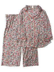 Womens Minky Soft Pink Blue Black Floral Button Front Pajamas Sleep Set 2X