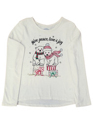 Girls Christmas Polar Bears Peace Love & Joy Holiday Ivory Tee T-Shirt