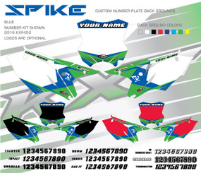 Megla Designs Spike Kawasaki Number Plate Backgrounds in Blue