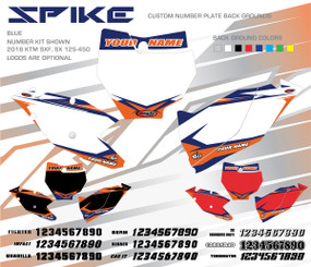 Megla Designs Spike KTM Number Plate Backgrounds in Blue