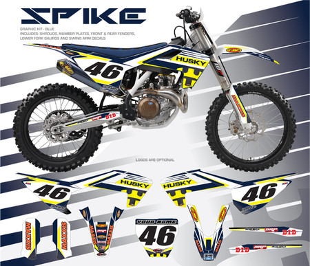 Megla Designs Spike Husqvarna Graphic Kit In Blue