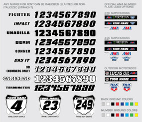 Custom motorcycle graphic kit font and number choices designed by Megla Designs