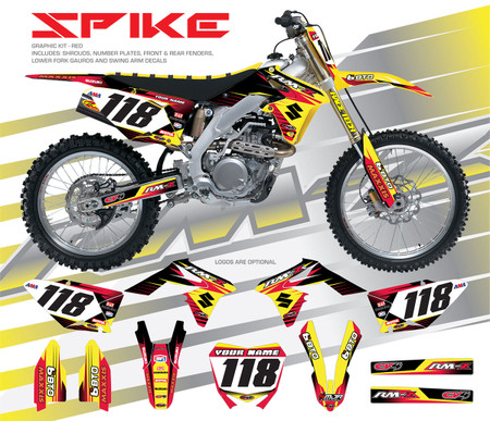 Megla Designs Spike Suzuki Graphic Kit In Red