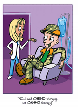 Cancer Girl, LLC -Camo-Guy Chemo-Guy Greeting Card