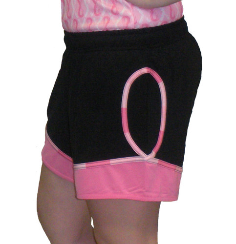 Breast Cancer Awareness Exercise Shorts by Live for Life in black and Pink