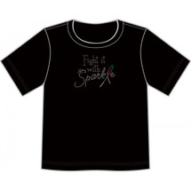 "Cancer Support Fight with Sparkle T-Shirt by Live for Life in black done in silver glitz while the ""L"" in Sparkle is done in mutiple colored glitz"