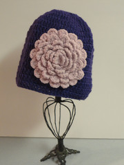 Cancer Girl, LLC - Black Knit Hat with pink knit flower