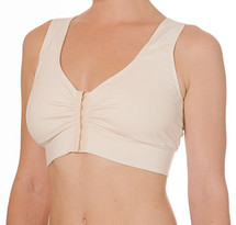 Blue Canoe mastectomy bra with front hooks, wide straps and a racer back design