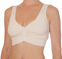 Blue Canoe Kelly's mastectomy bra with a front zipper closure, scoop back, and wide straps. This bra has multi-purpose cup pockets for breast forms.
