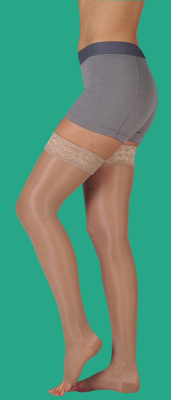 4b989982f2 Juzo Naturally Sheer Thigh-high with Lace Silicone Border 15-20, 20-. Loading  zoom
