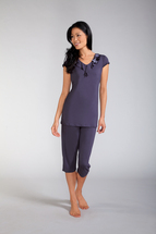 Capri Pocketed Pajama Set with Ruffle Neckline by Amoena (Large and X-Large Only))