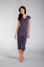 Capri Pocketed Pajama Set with Ruffle Neckline by Amoena