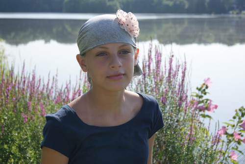 Child's Head Scarf Heather Grey with Pink Polka Dot Rosette by Sparkle my head scarves