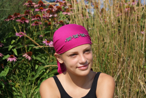 Child's Head Scarf with Rhinestone Butterflies in Assorted Colors Magenta, white, and blue by Sparkle on my head Scarves