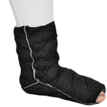 Solaris - Foot to Ankle Chevron Style Custom Tribute Night Compression Garment in black is Intended for clients with edema and/or tissue fibrosis at the foot and ankle region. Provides enhanced ankle definition and Heel Assist Loop comes standard.