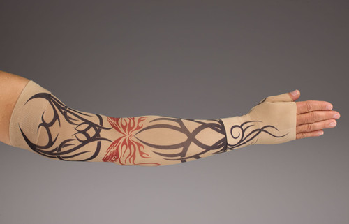 LympheDUDES 20-30mmHg or 30-40mmHg medical compression with tattoo ink pattern called Inked