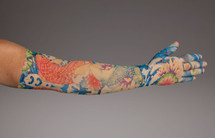 LympheDUDES 20-30mmHg or 30-40mmHg medical compression with multicolor  Koi fish pattern called Koi